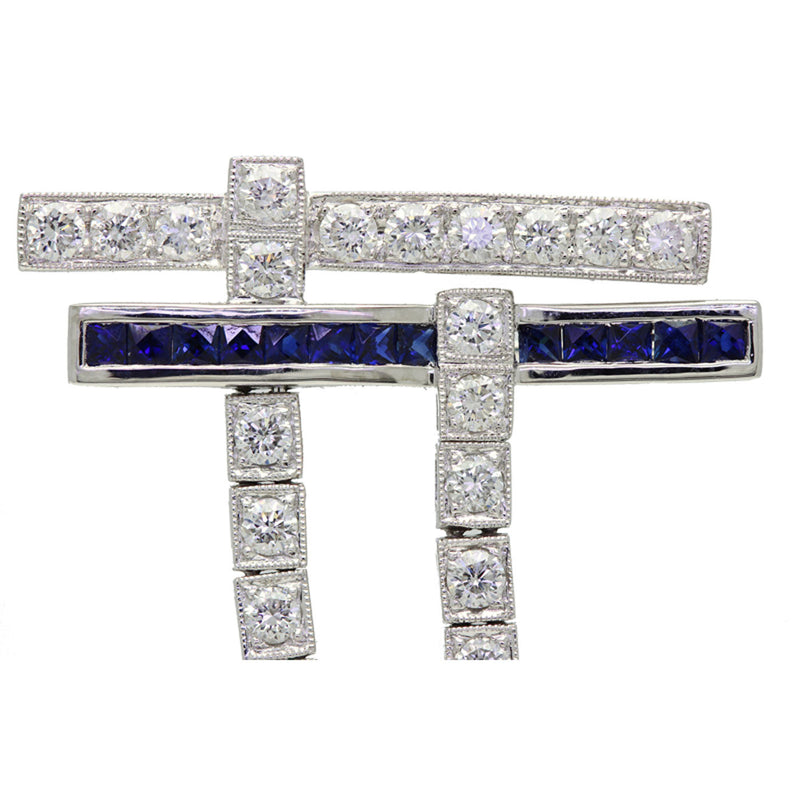 Art Deco Style Platinum, Diamond, Sapphire & Pearl Pin Brooch - The Antique Parlour