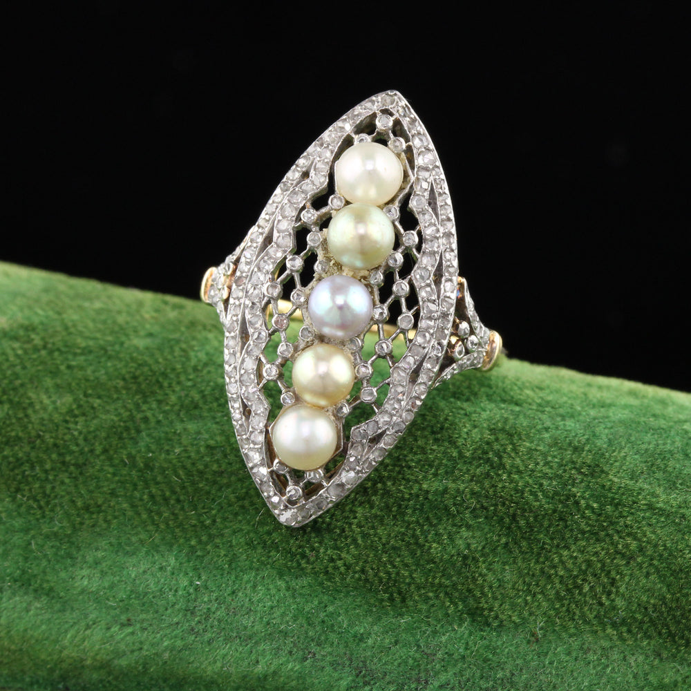 Antique Edwardian French Yellow Gold, Platinum, Diamond & Pearl Ring