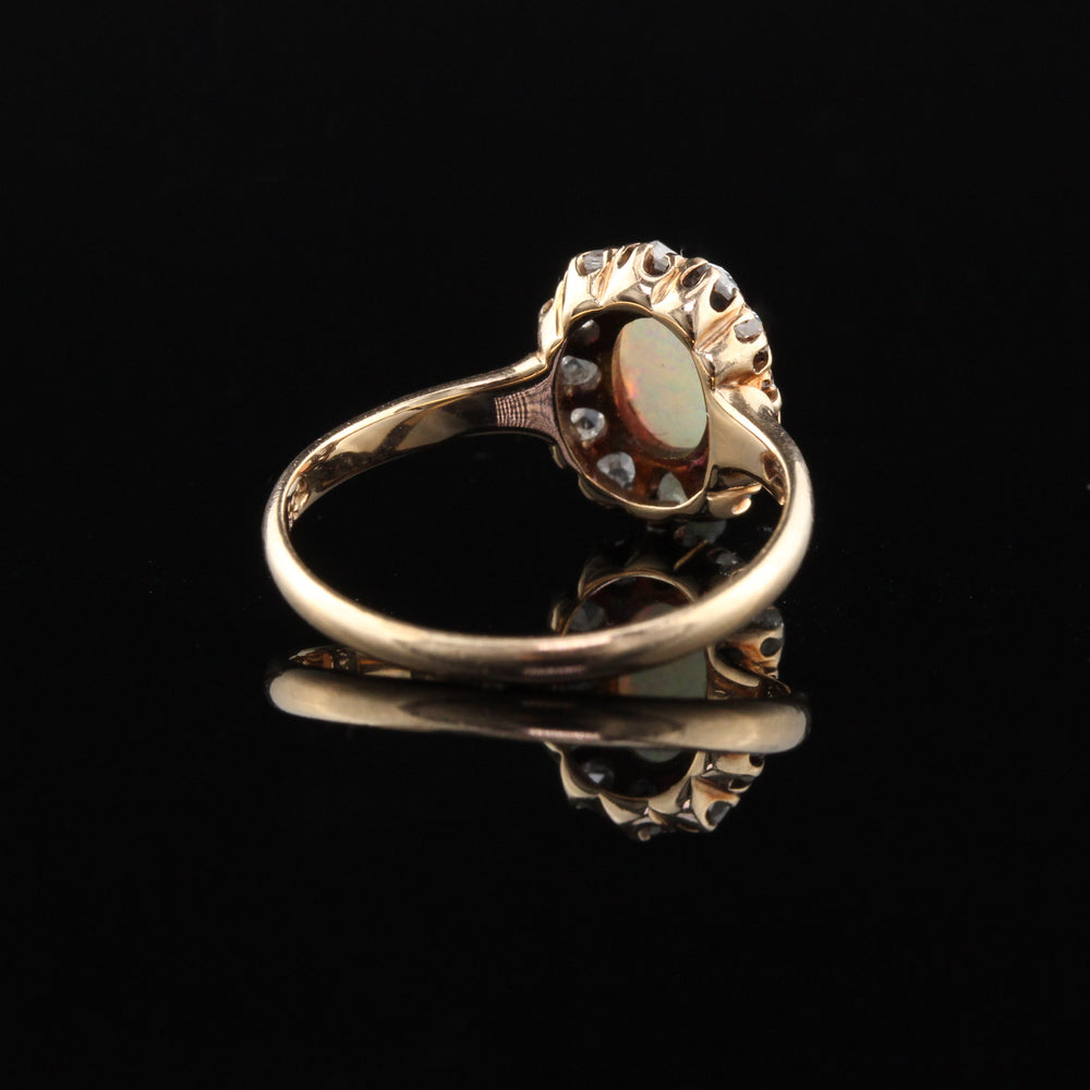 Antique Victorian 14K Yellow Gold Opal & Rose Cut Diamond Cluster Ring - The Antique Parlour