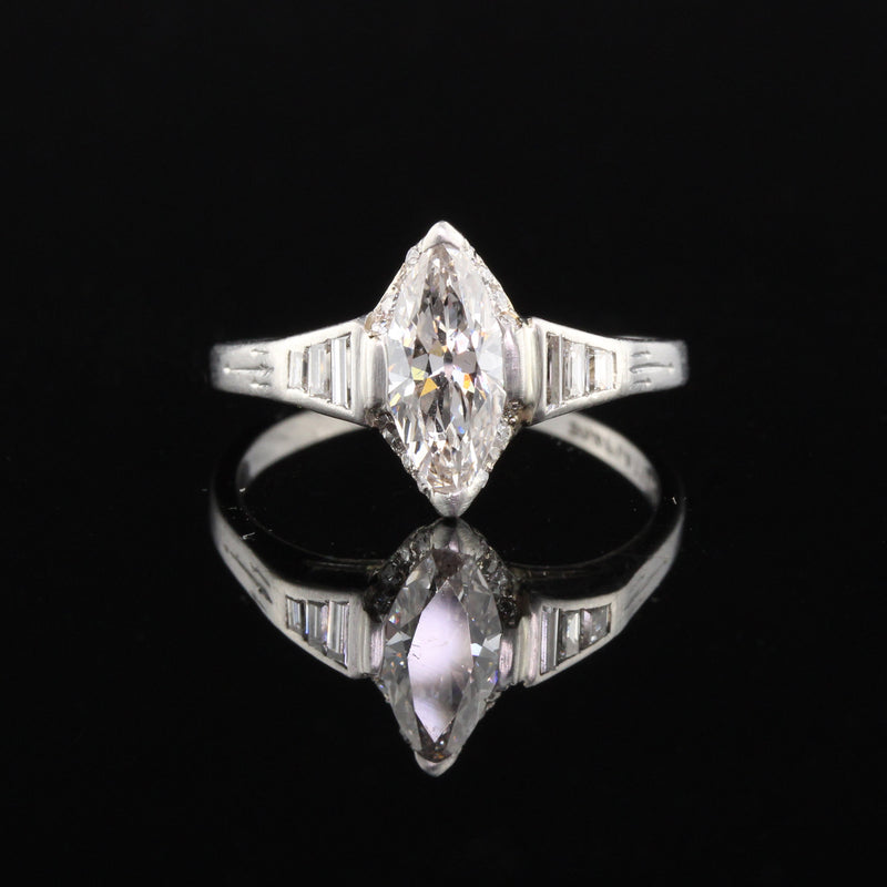 Antique Art Deco Platinum Marquise Cut Diamond Engagement Ring - The Antique Parlour