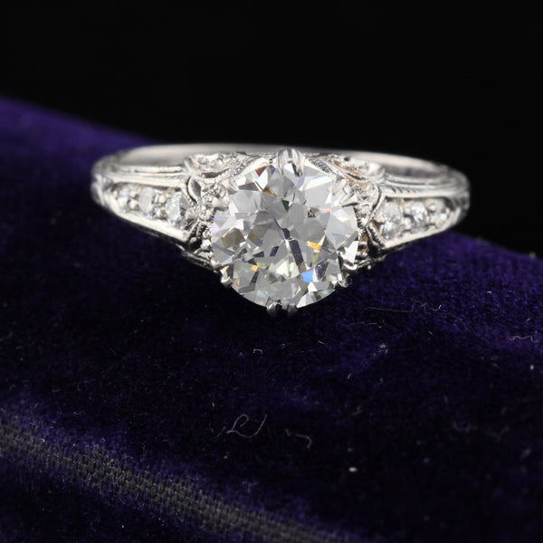 Antique Edwardian Platinum & Diamond Engagement Ring - The Antique Parlour