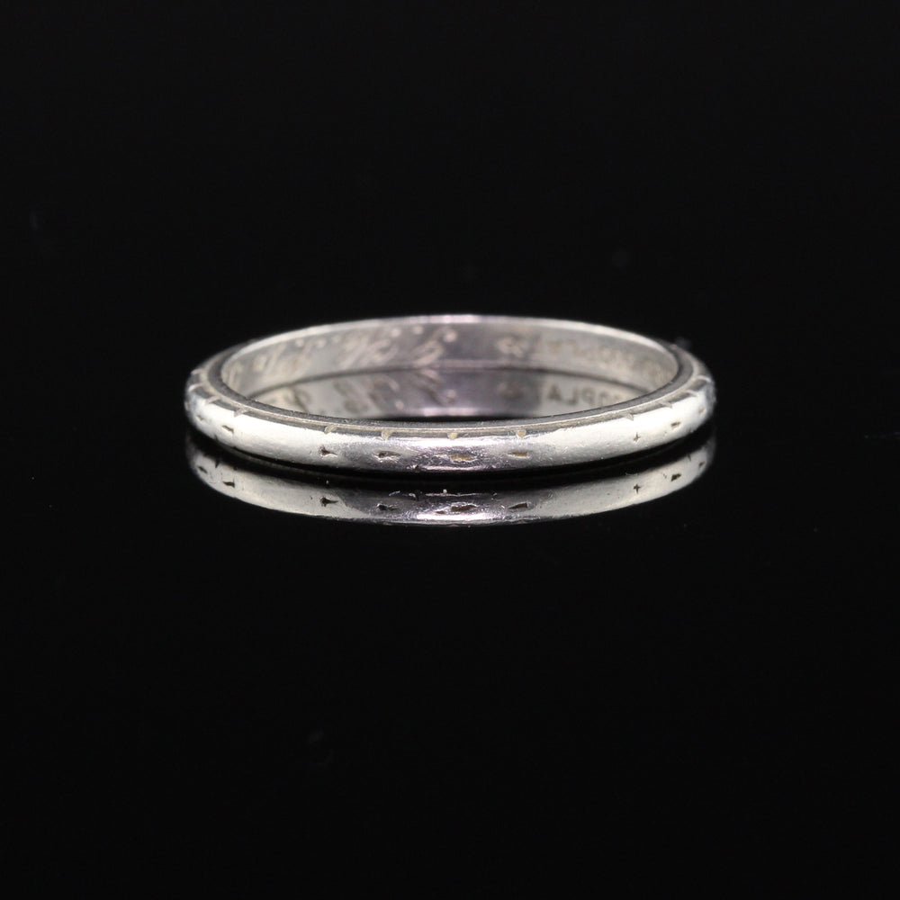 Circa 1934 - Antique Art Deco Platinum Engraved Wedding Band - Size 6