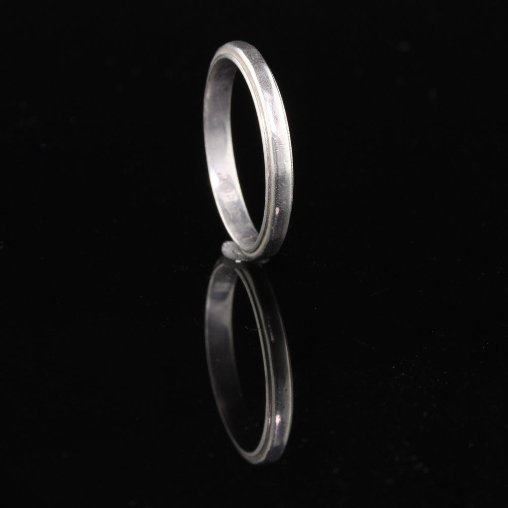 Antique Art Deco Platinum Wedding Band - Size 5