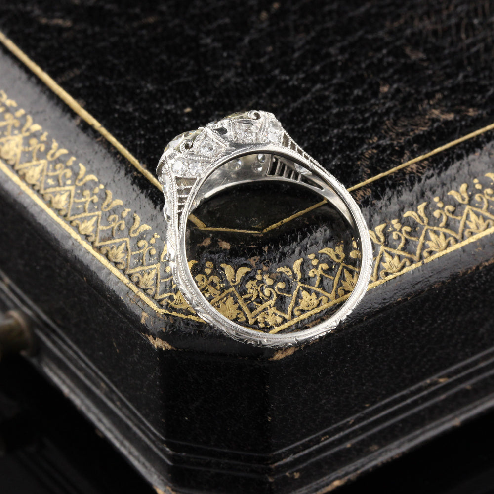 Antique Art Deco Platinum Diamond 2-Stone Engagement Ring - The Antique Parlour