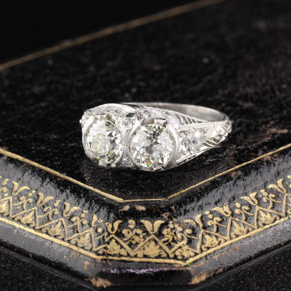 Antique Art Deco Platinum Diamond 2-Stone Engagement Ring
