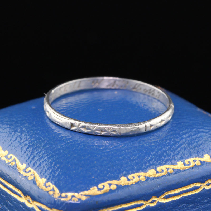 Circa 1943 - Vintage Estate Platinum Engraved Wedding Band - Size 8