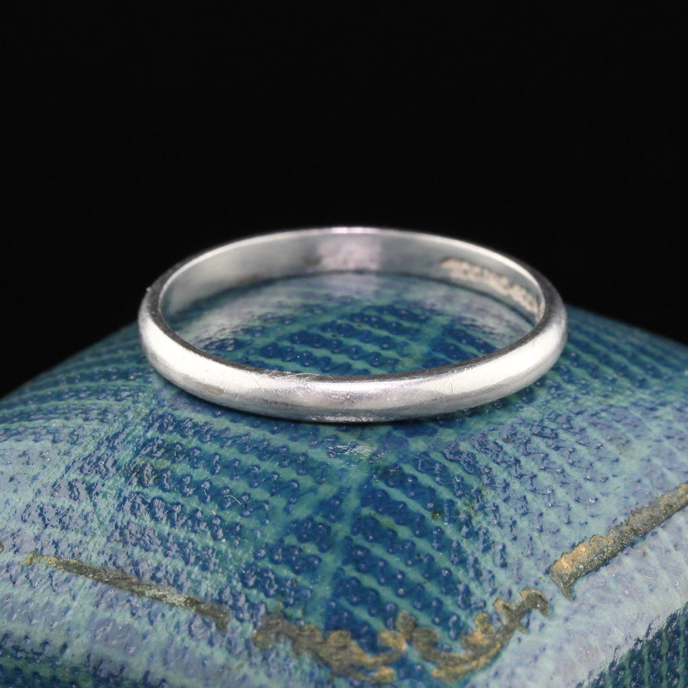 Antique Art Deco Platinum Wedding Band - Size 6 1/2