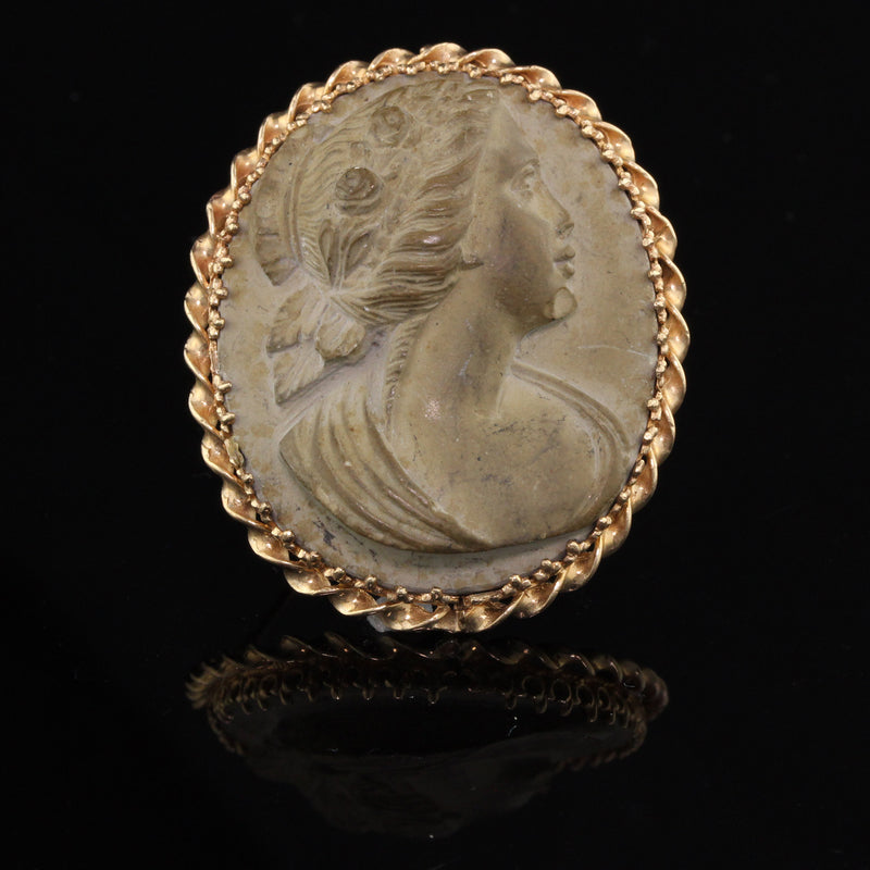 Antique 14K Yellow Gold Cameo Carved Stone Pin - Handmade - The Antique Parlour