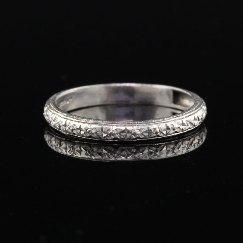 Antique Art Deco Platinum Engraved Wedding Band - Size 5 3/4 - The Antique Parlour