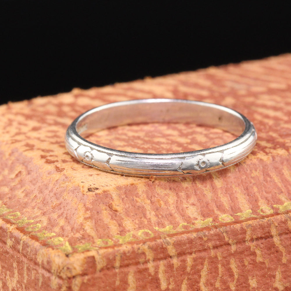 Antique Art Deco Platinum Engraved Wedding Band - Size 6 1/4