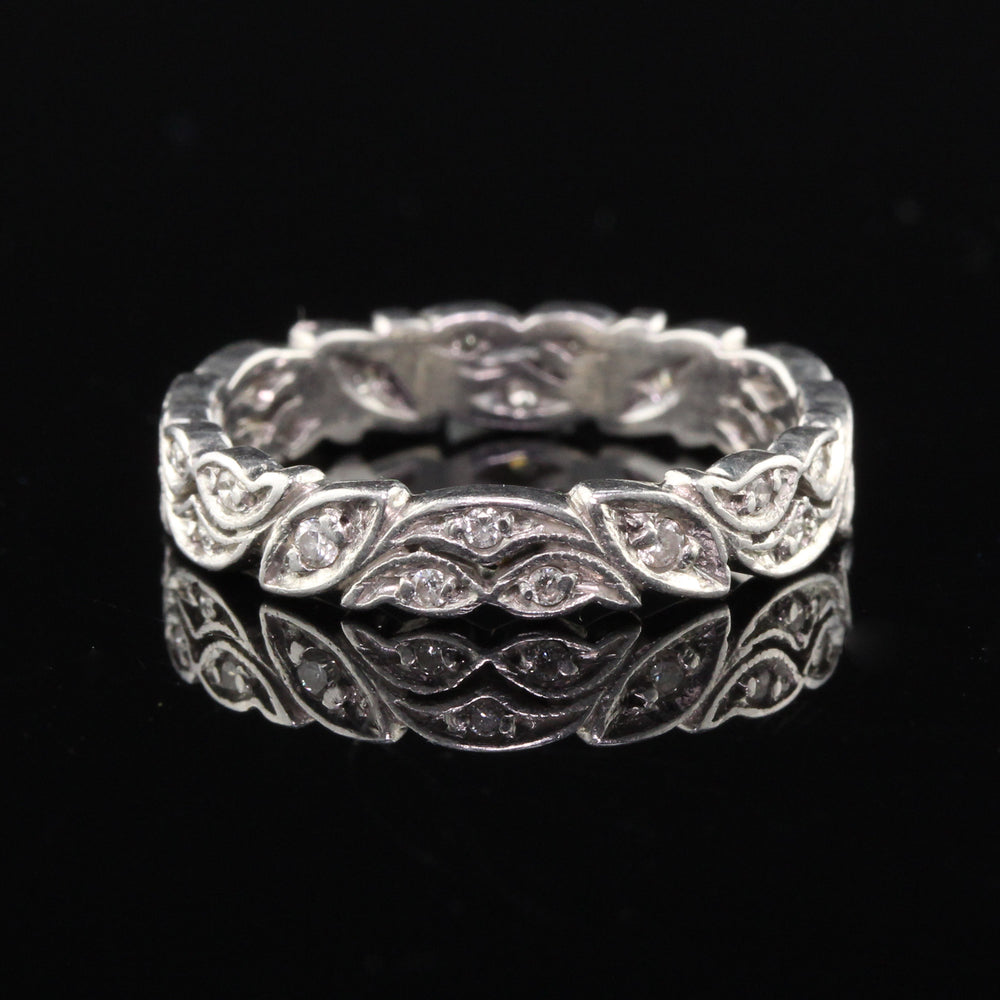 Antique Art Deco Platinum Diamond Wedding Band - Size 8 - The Antique Parlour