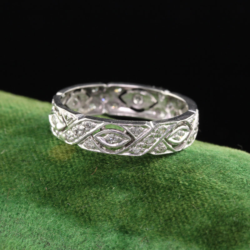 Antique Art Deco Platinum Diamond Filigree Wedding Band - Size 5 3/4 - The Antique Parlour