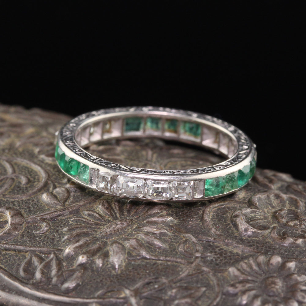 Antique Art Deco Platinum Asscher Cut Diamond & Emerald Wedding Band - Size 7.5
