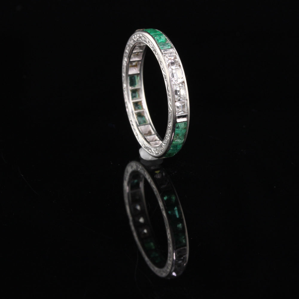 Art Deco Platinum Asscher Cut Diamond  Emerald Wedding Band - Size 7.5