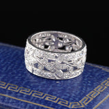 Antique Art Deco Platinum Diamond Wide Eternity Band - Size 7 1/4 - The Antique Parlour