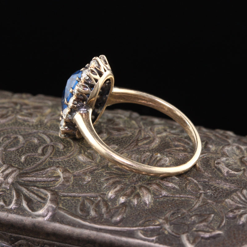 Antique Victorian 14K Yellow Gold Blue Spinel & Diamond Cluster Ring - The Antique Parlour