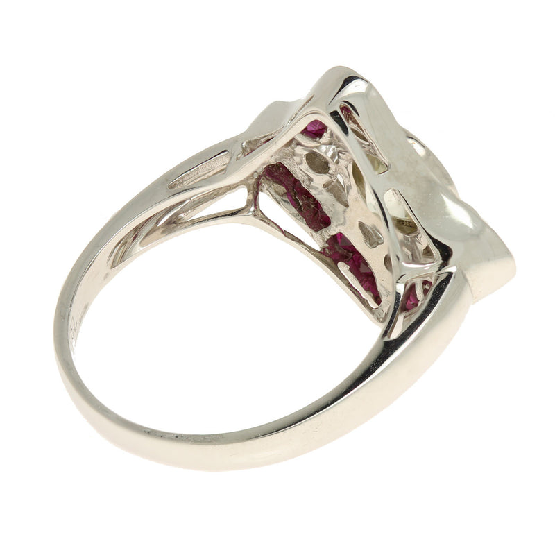 Art Deco 18K White Gold Diamond and Ruby Ring - The Antique Parlour