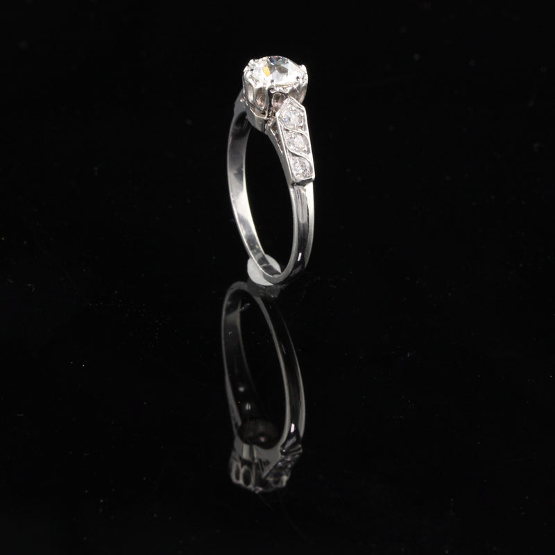 Antique Edwardian Platinum Old European Cut Diamond Engagement Ring - The Antique Parlour