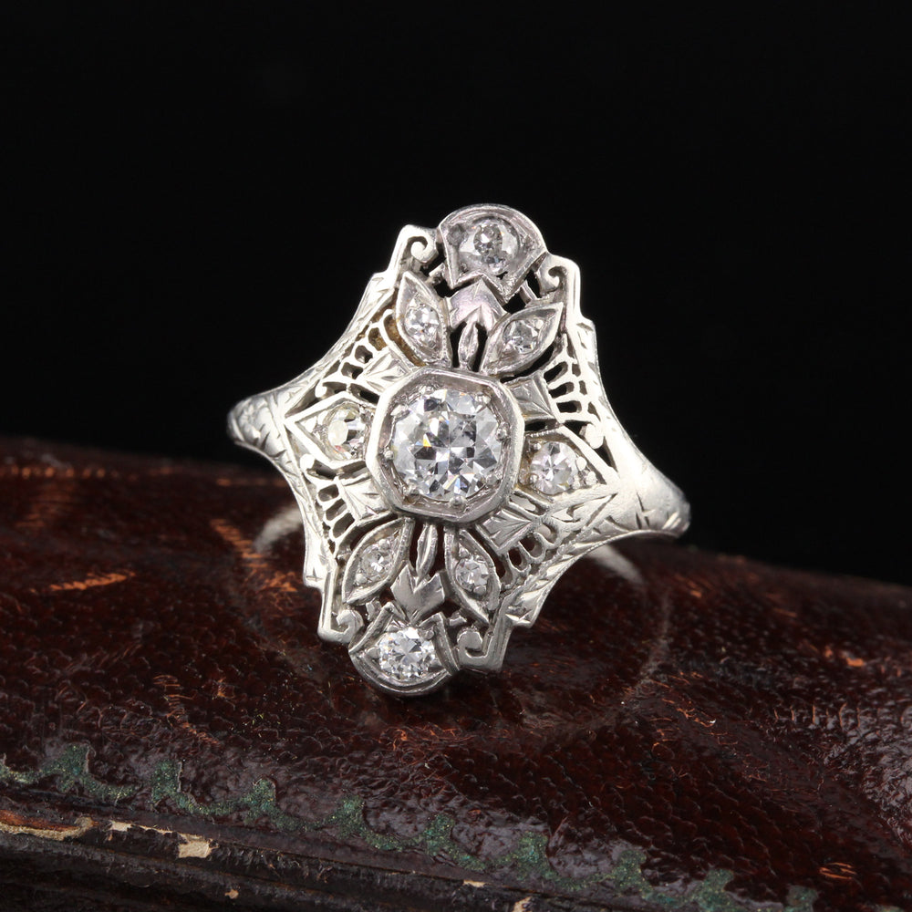 Antique Edwardian Platinum Diamond Shield Ring - The Antique Parlour