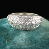 Vintage Retro 10K White Gold Diamond Wide Band Ring - The Antique Parlour