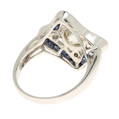 Art Deco Style 18K White Gold Diamond and Sapphire Ring