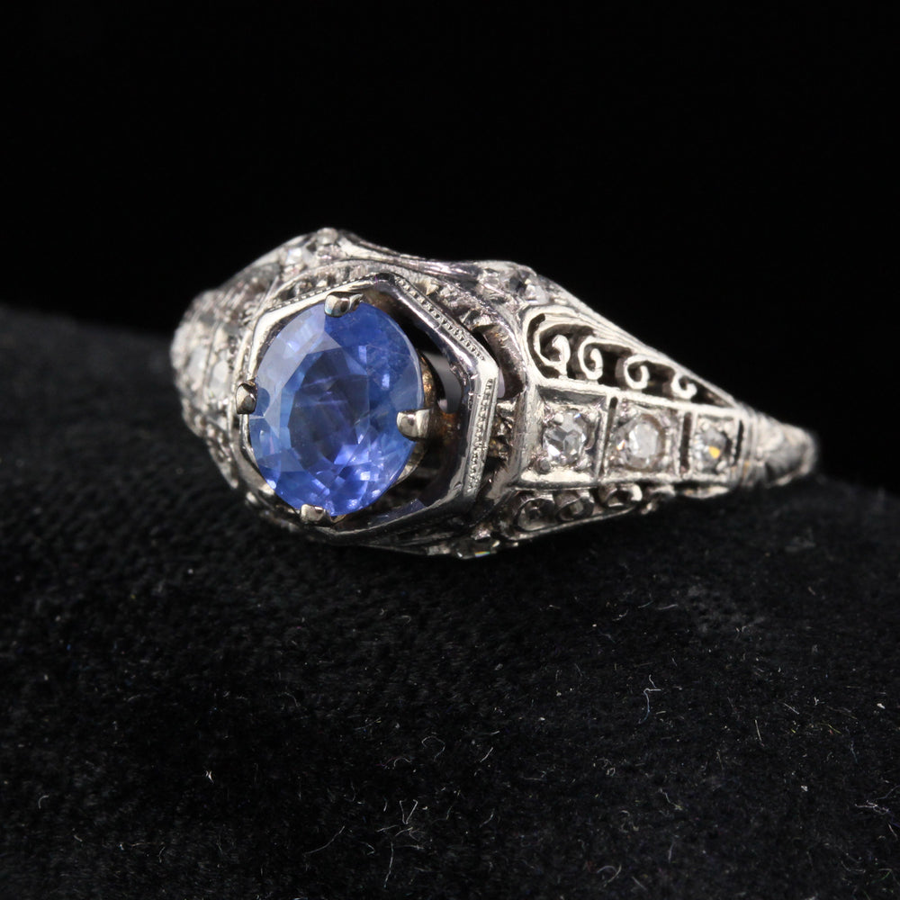 Antique Art Deco Platinum Diamond & Ceylon Sapphire Engagement Ring