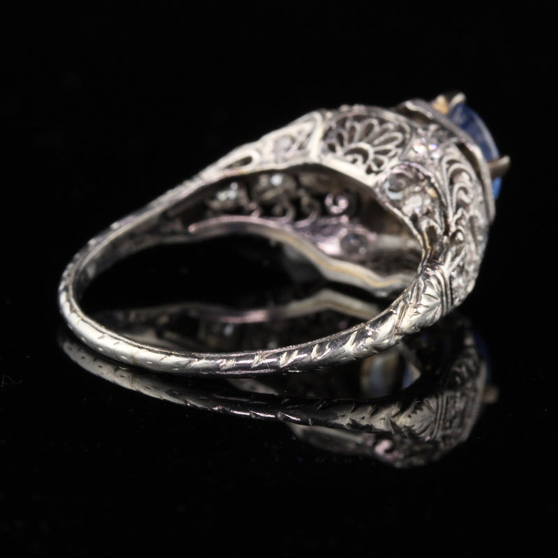 Antique Art Deco Platinum Diamond & Ceylon Sapphire Engagement Ring - The Antique Parlour