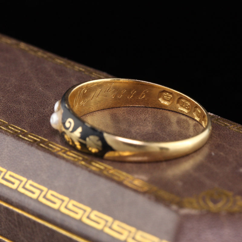 Circa 1836 - Antique Georgian 18K Yellow Gold Black Enamel & Pearl Mourning Band Ring - The Antique Parlour