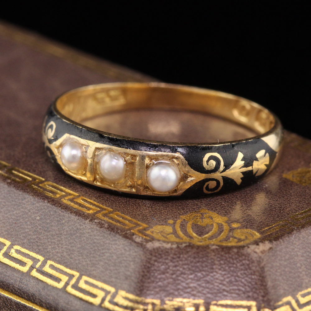 Circa 1836 - Antique Georgian 18K Yellow Gold Black Enamel & Pearl Mourning Band Ring