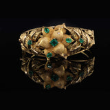 Vintage 18K Yellow Gold Floral Columbian Emerald and Diamond Cuff Bracelet