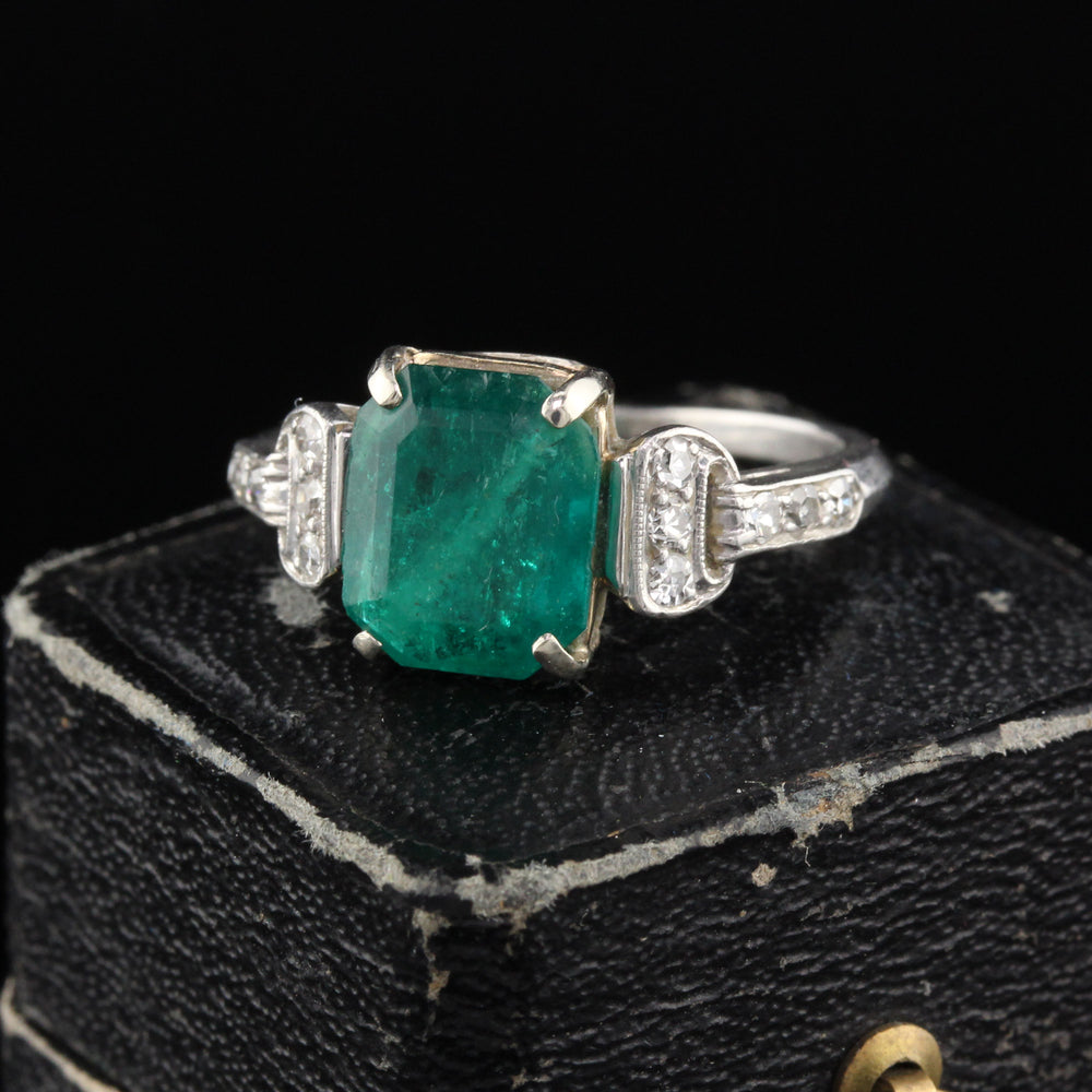 Antique Art Deco Platinum Emerald & Diamond Cocktail Ring
