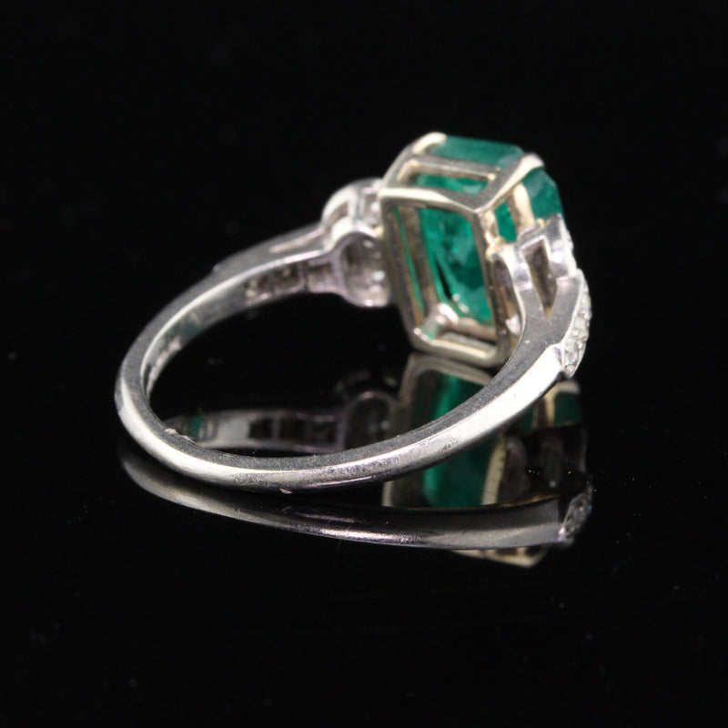 Antique Art Deco Platinum Emerald & Diamond Cocktail Ring - The Antique Parlour