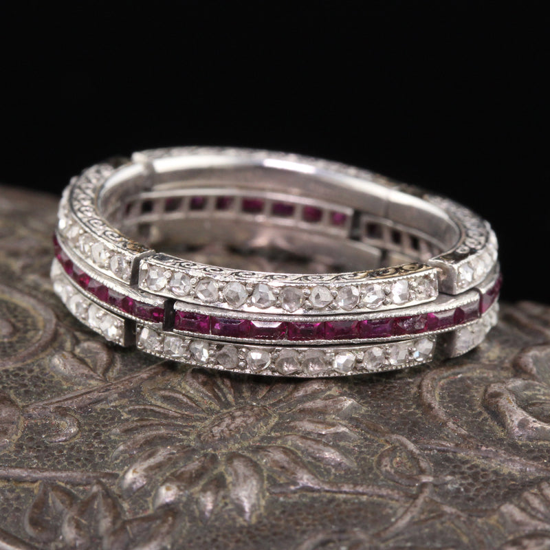 Art Deco Platinum Diamond & Ruby Expandable Eternity Band