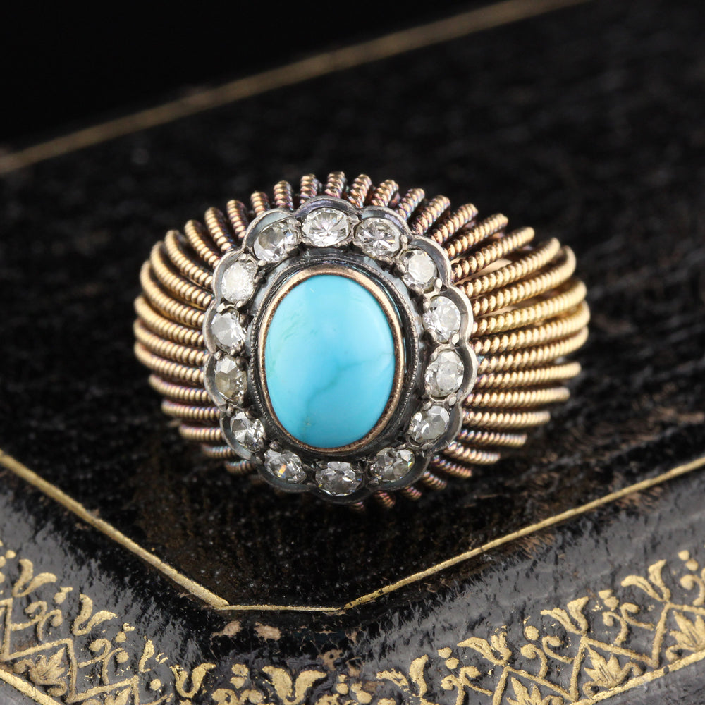 Vintage Estate 18K Yellow Gold Natural Turquoise & Diamond Cocktail Ring