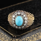 Vintage Estate 18K Yellow Gold Natural Turquoise & Diamond Cocktail Ring - The Antique Parlour