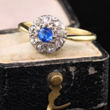 Antique Edwardian Yellow Gold Platinum Diamond Cluster Ring