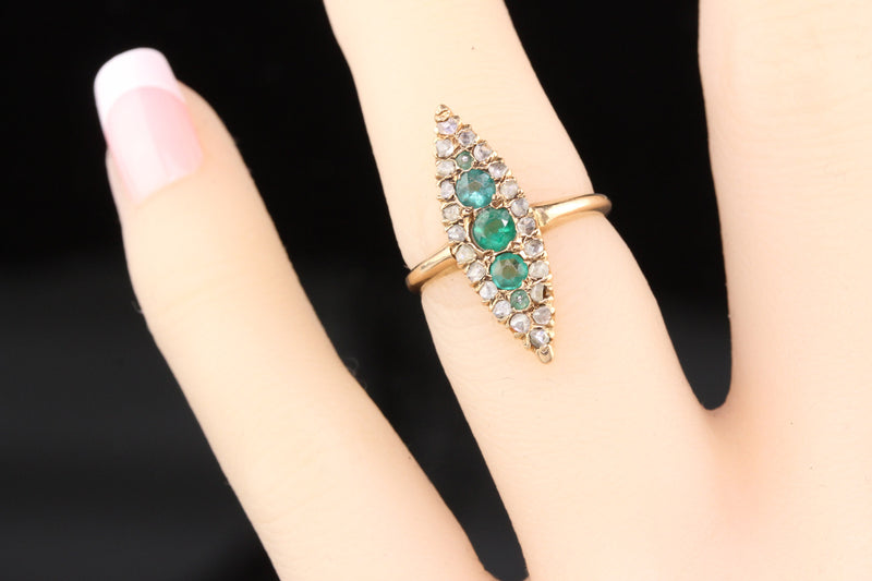 Antique Victorian 14K Rose Gold Emerald & Diamond Navette Ring - The Antique Parlour