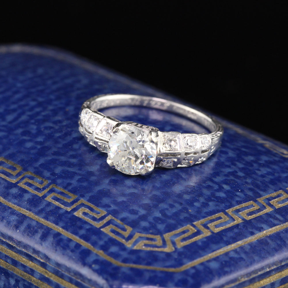 Antique Art Deco Platinum & Diamond Engagement Ring - Size 4 1/2
