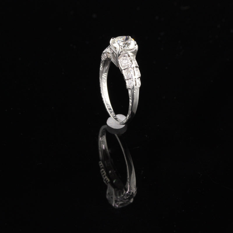 Antique Art Deco Platinum & Old European Cut Diamond Engagement Ring - The Antique Parlour