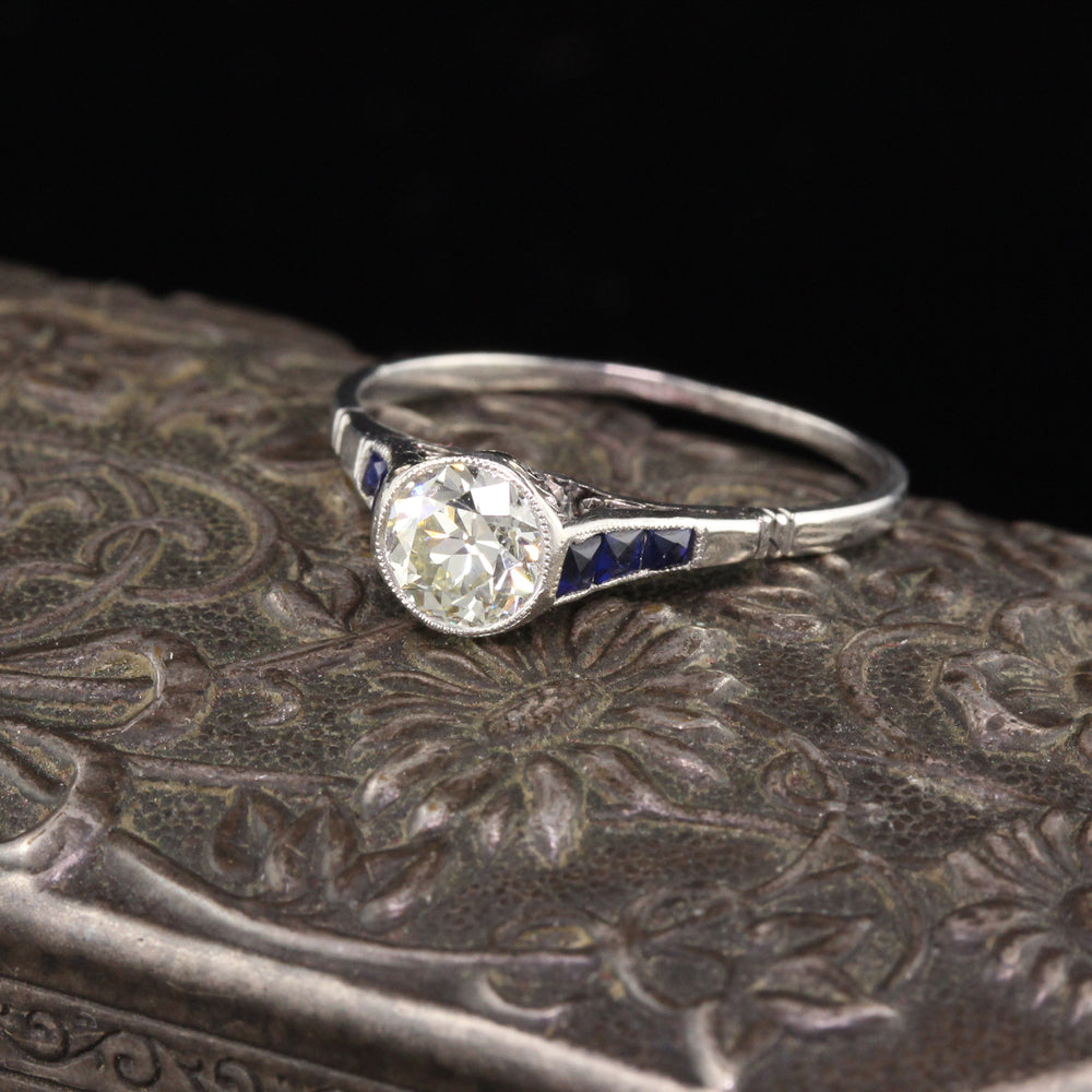 Antique Art Deco Platinum Diamond & Sapphire Engagement Ring