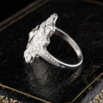 Antique Art Deco Platinum Diamond Shield Ring - The Antique Parlour