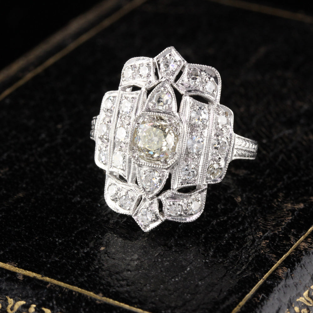Antique Art Deco Platinum Diamond Shield Ring