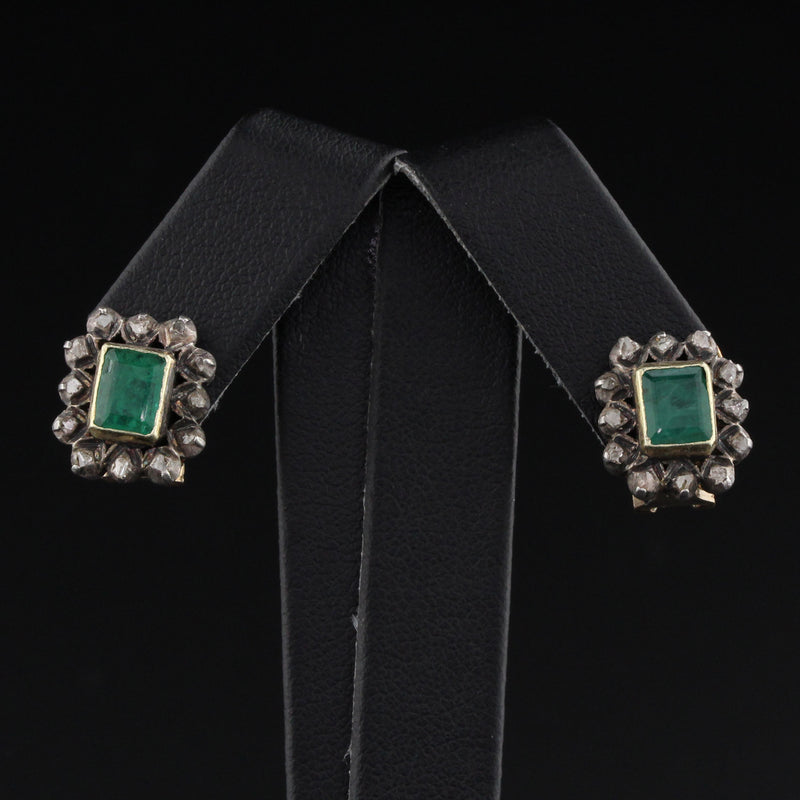 Antique Georgian 18K Yellow Gold, Emerald and Diamond Earrings