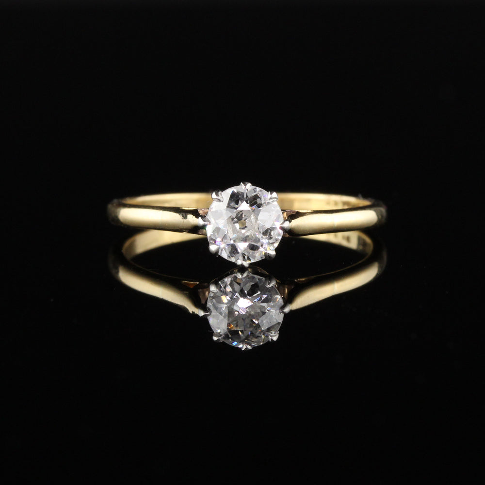 Antique Edwardian Yellow Gold Platinum Diamond Engagement Ring