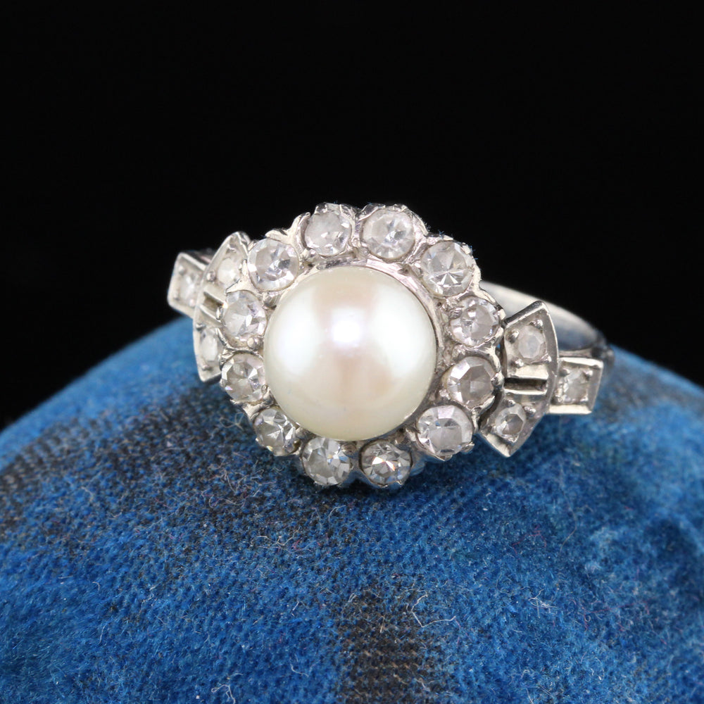 Antique Edwardian 18K White Gold, Platinum, Pearl & Diamond Engagement Ring
