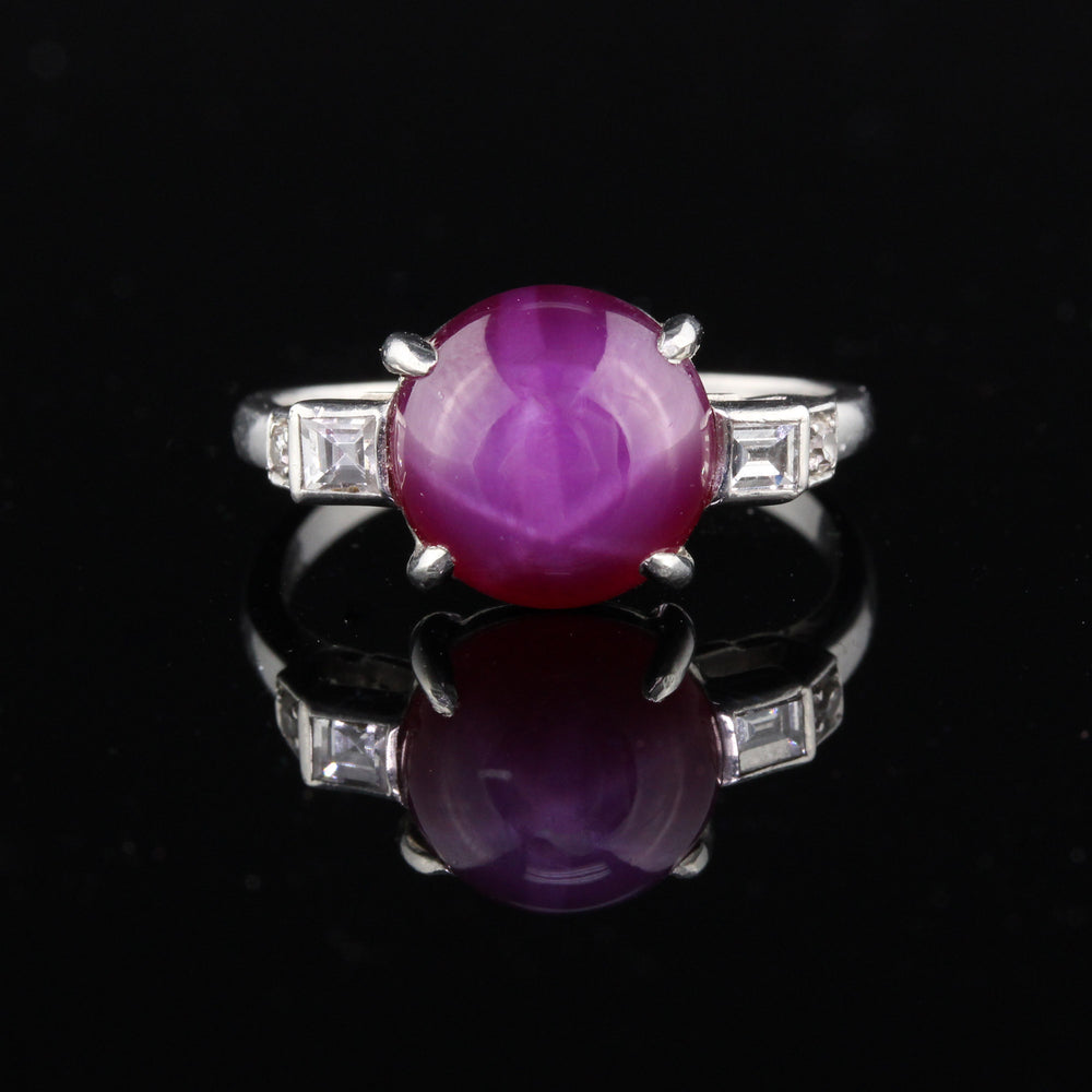 Antique Art Deco Platinum Star Ruby & Diamond Ring - The Antique Parlour