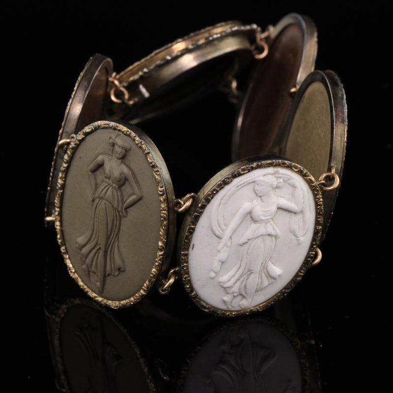 Antique Victorian Gold and Silver Lava Stone Cameo Bracelet - The Antique Parlour