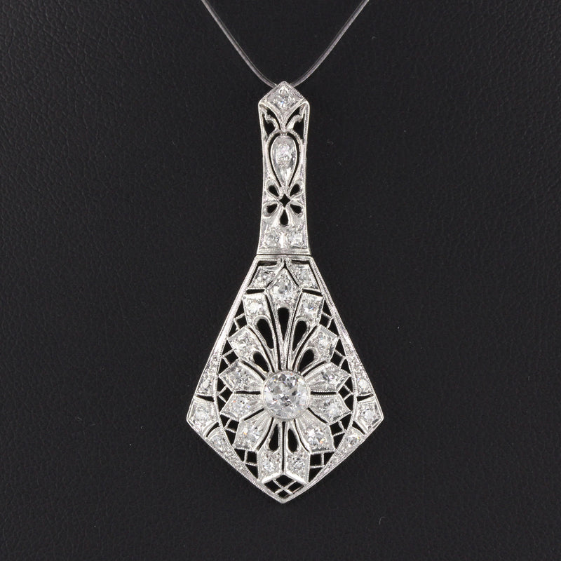 Antique Art Deco Platinum Diamond Pendant Necklace - The Antique Parlour