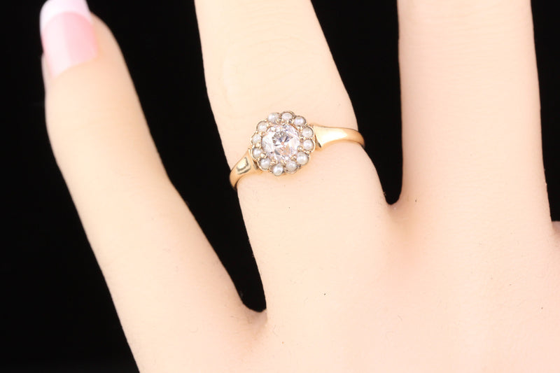 Antique Victorian 14K Rose Gold Diamond & Seed Pearl Engagement Ring - The Antique Parlour