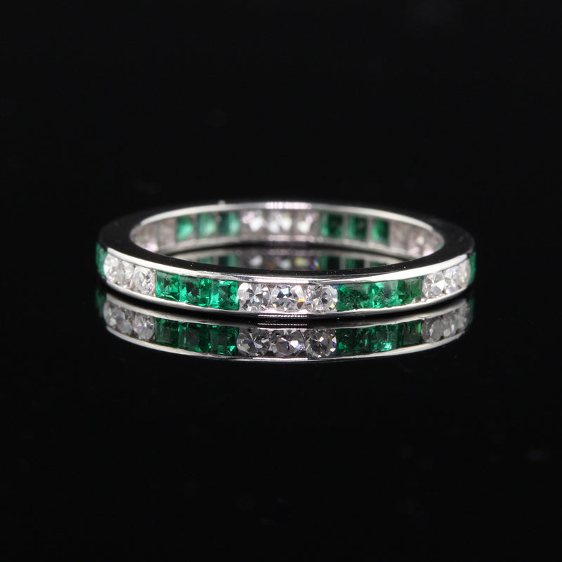 Antique Art Deco Platinum Emerald & Diamond Eternity Band - Size 5 - The Antique Parlour